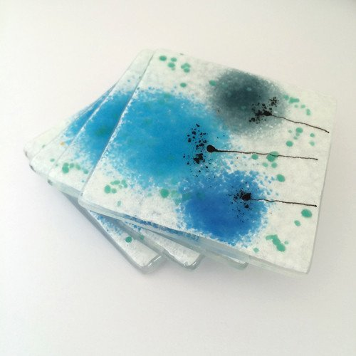 Blue flower fused glass coasters - Fired Creations