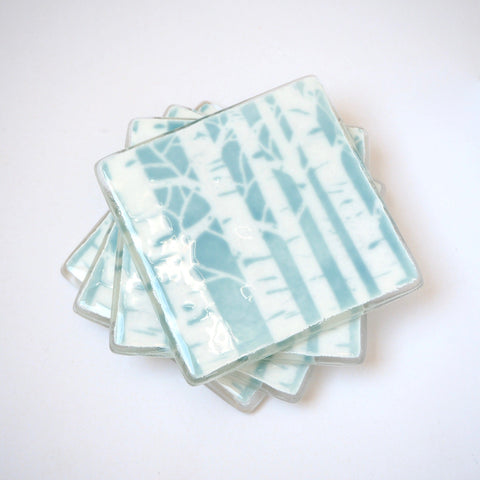 Duck egg blue poplar trees fused glass drinks coasters - Fired Creations