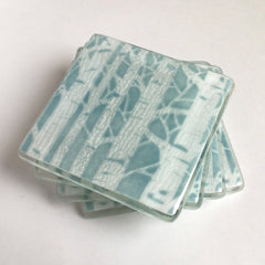Coasters - Duck Egg Blue Poplar Trees Fused Glass Drinks Coasters
