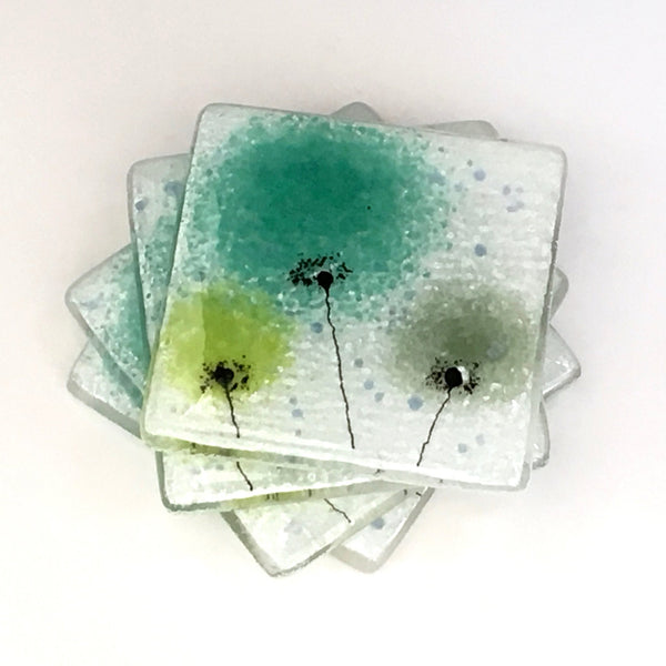 green flower fused glass coasters fired creations. Black Bedroom Furniture Sets. Home Design Ideas
