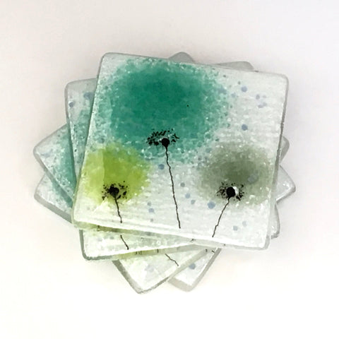 Coasters - Green Flower Fused Glass Coasters