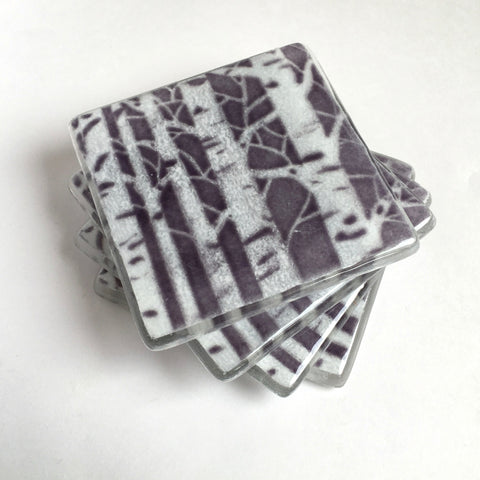 Purple poplar trees fused glass drinks coasters - Fired Creations