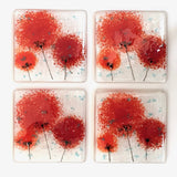Red fused glass coasters with poppy flowers - Fired Creations