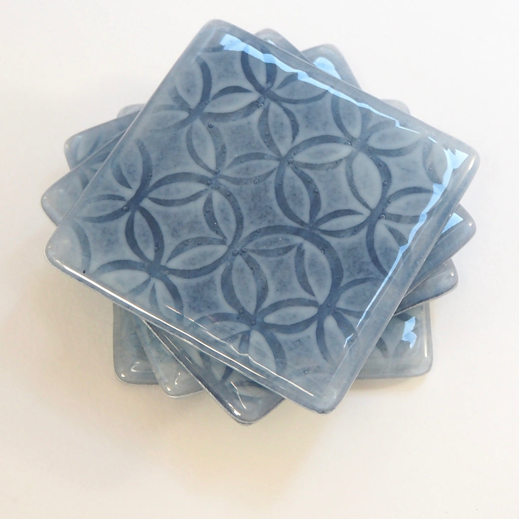 Smoky blue fused glass coasters - Fired Creations