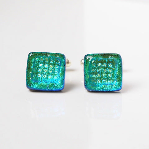 Green blue dichroic glass cufflinks - Fired Creations