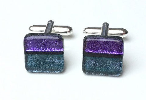 Purple and aqua dichroic glass cufflinks - Fired Creations