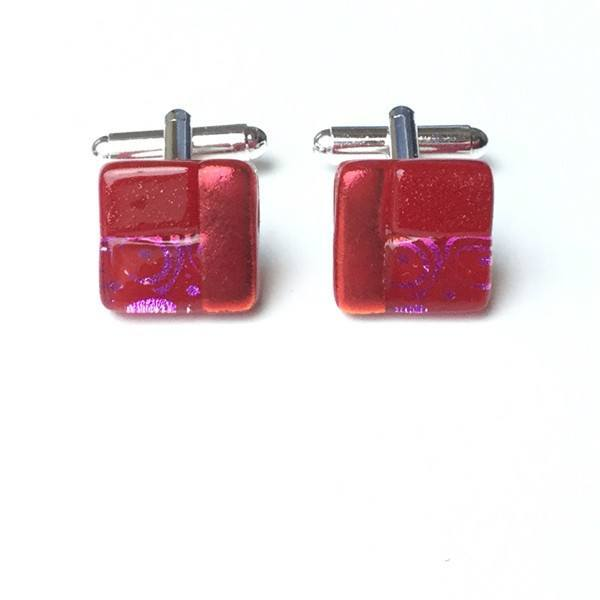 Red dichroic glass cufflinks - Fired Creations