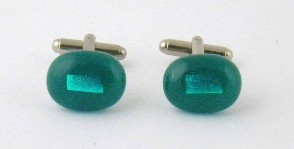 Teal green dichroic glass cufflinks - Fired Creations