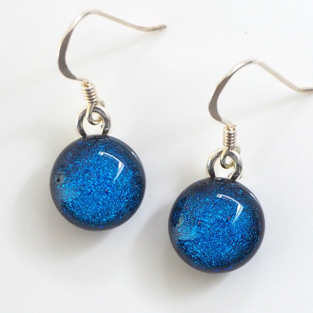 Blue round dichroic glass earrings - Fired Creations