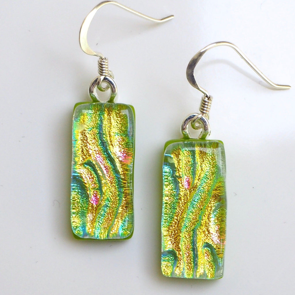 Golden green dichroic fused glass earrings - Fired Creations
