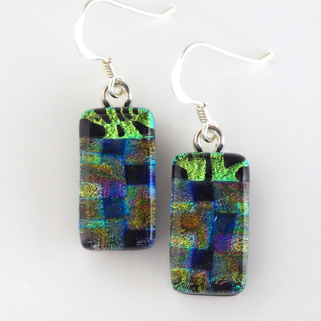 Green and blue fused glass earrings - Fired Creations