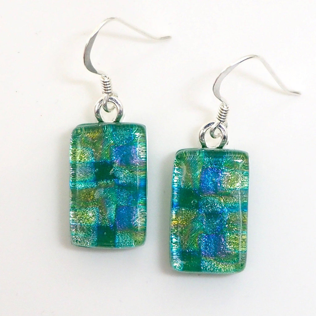 Green fused dichroic glass earrings - Fired Creations