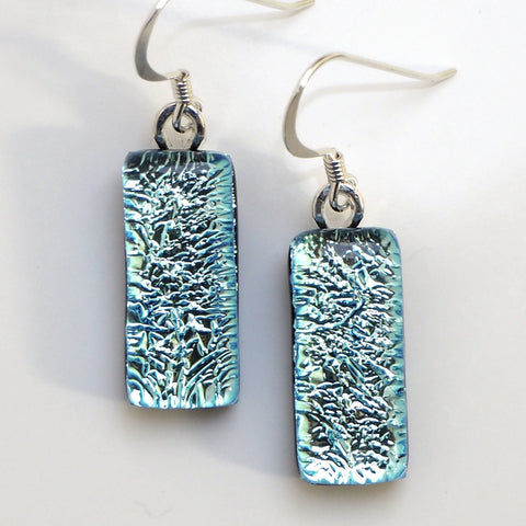 Dangly Earrings - Ice Blue Fused Dichroic Glass Earrings