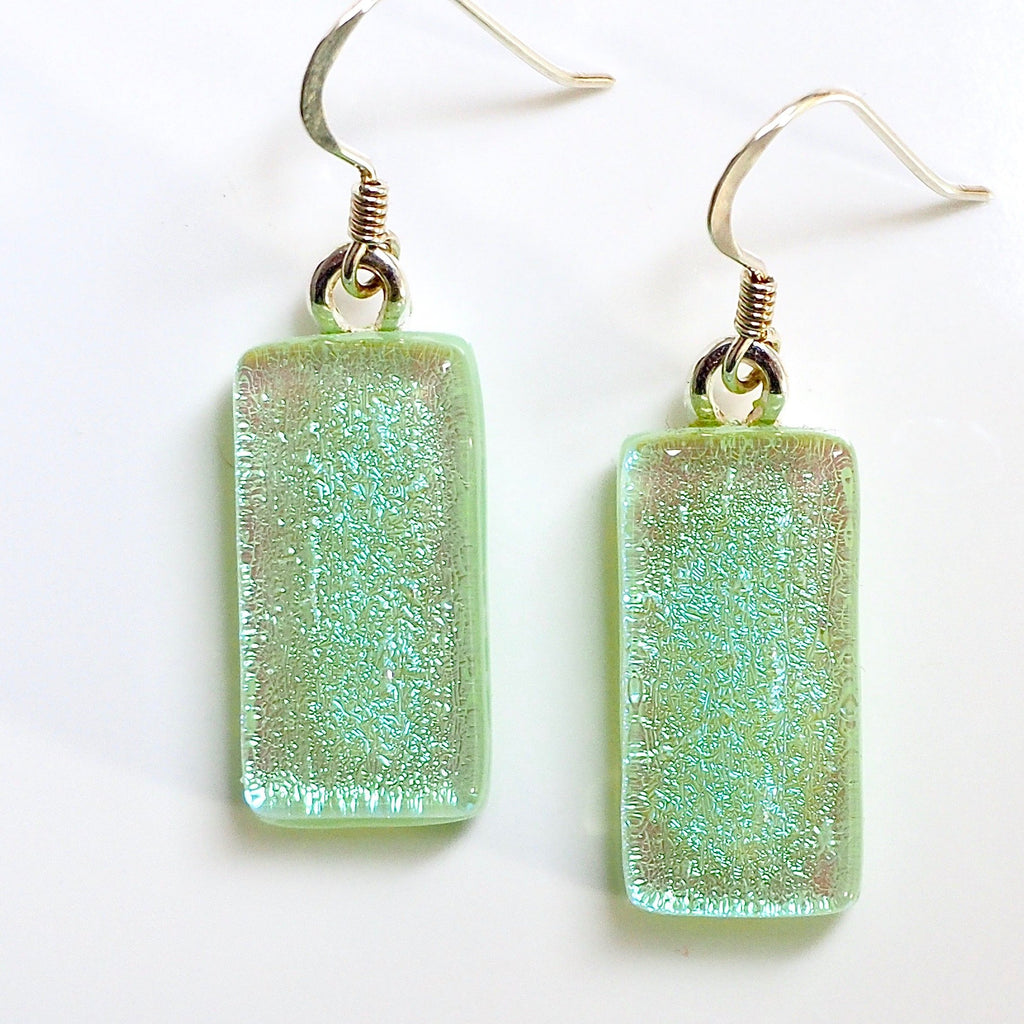 Mint green fused dichroic glass earrings - Fired Creations