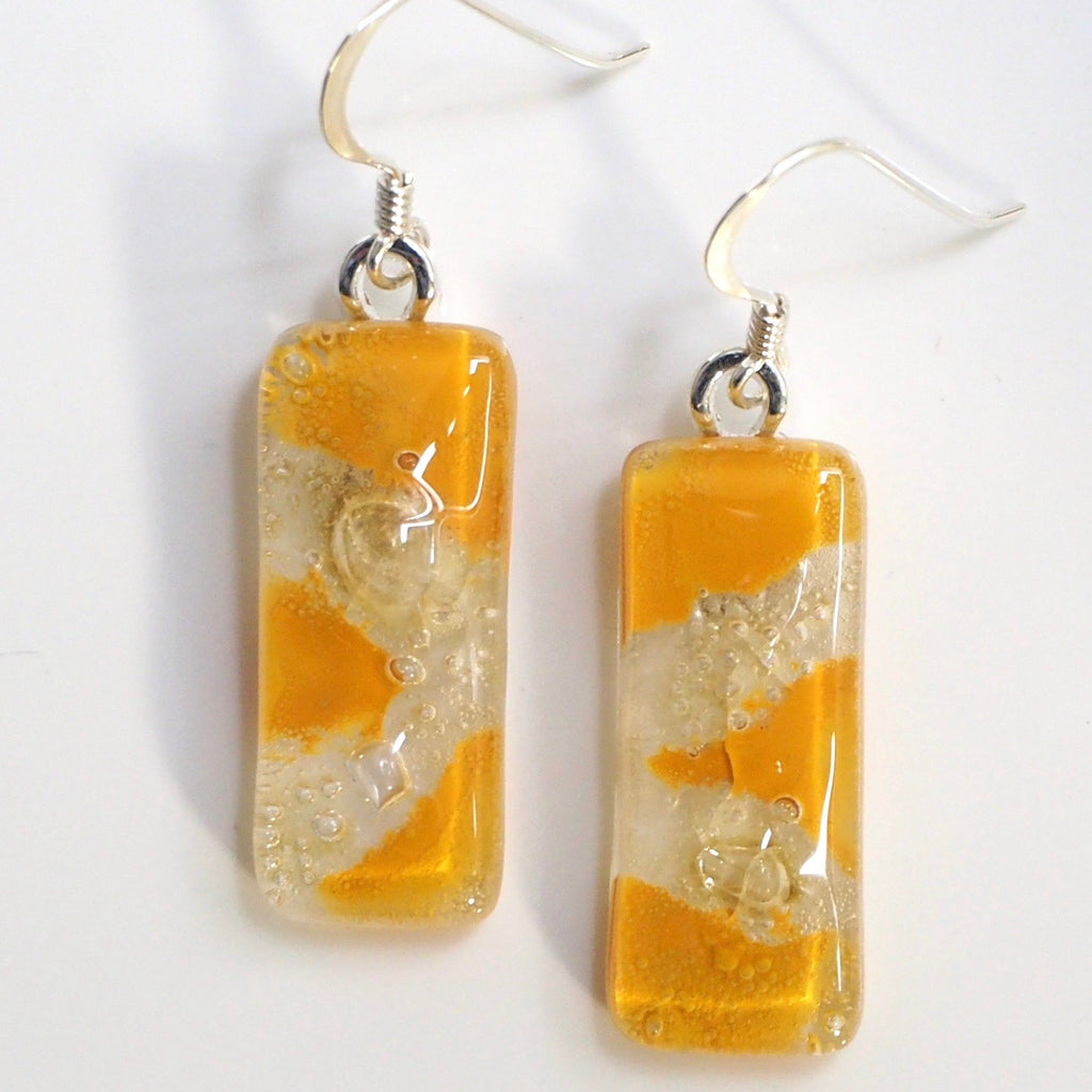 Mustard yellow fused glass earrings with bubbles - Fired Creations