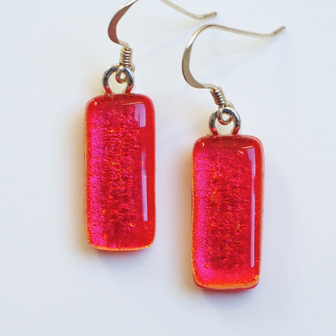 Orange fused dichroic glass earrings - Fired Creations