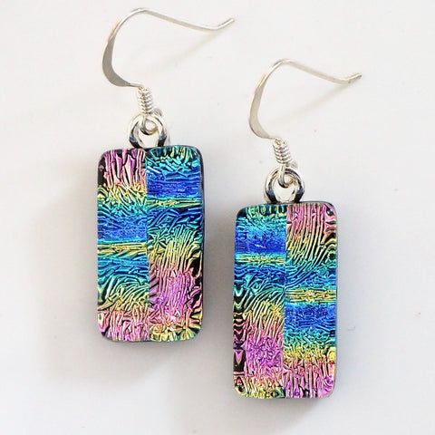 Pink and blue dichroic glass earrings - Fired Creations