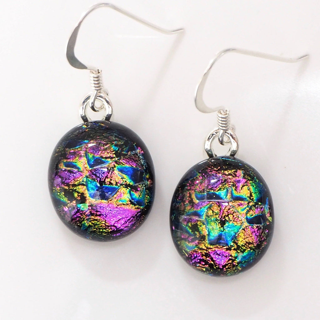 Pink blue purple dichroic glass earrings - Fired Creations