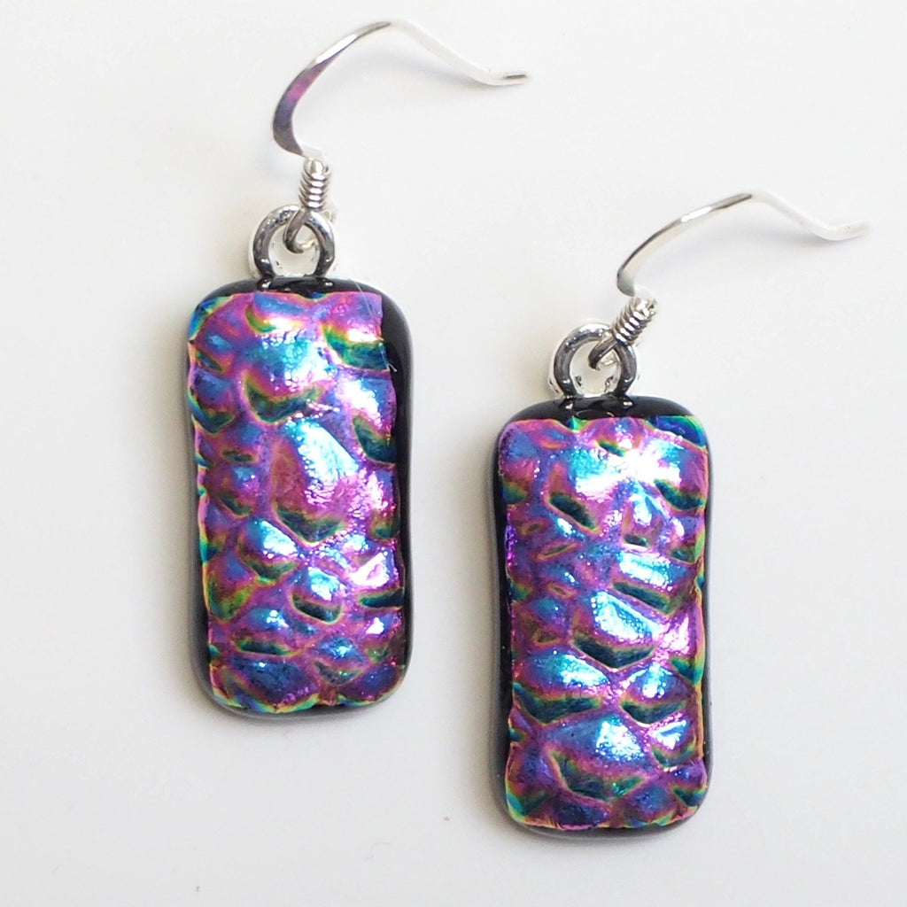 Pink dichroic glass fused glass earrings - Fired Creations