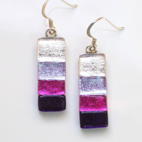 Pink purple fused dichroic glass earrings - Fired Creations