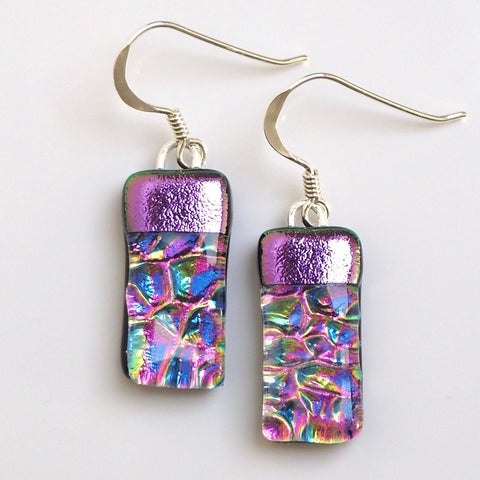 Pink rainbow fused dichroic glass earrings - Fired Creations
