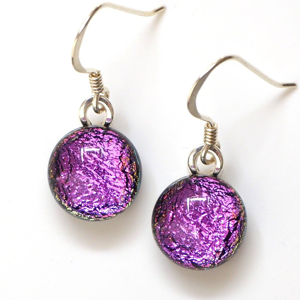 Dangly Earrings - Pink Round Dichroic Glass Earrings