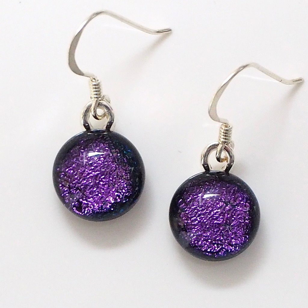 Purple round dichroic glass earrings - Fired Creations