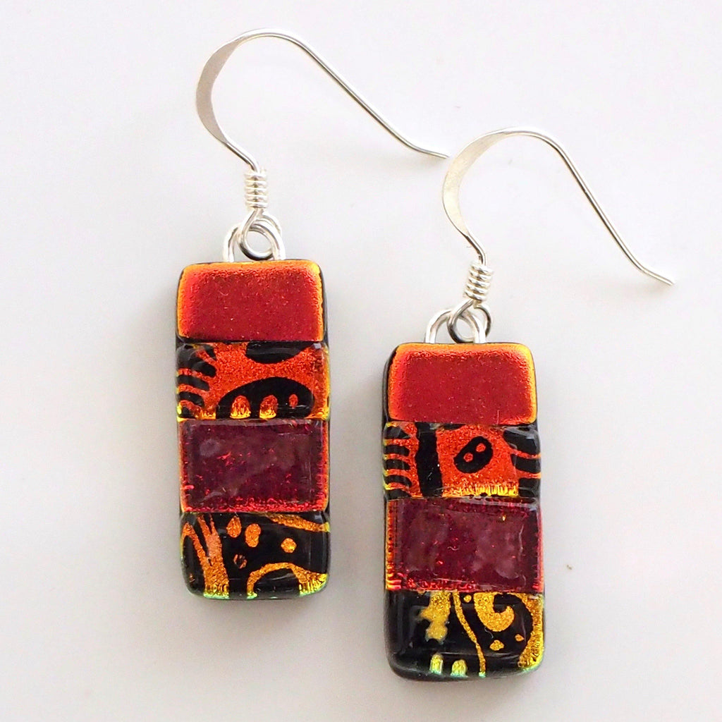 Red orange fused dichroic glass earrings - Fired Creations