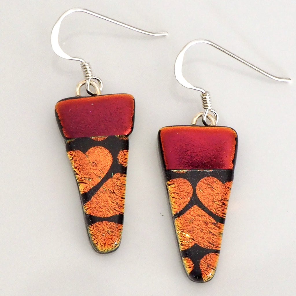 Dangly Earrings - Red Orange Hearts Fused Dichroic Glass Earrings