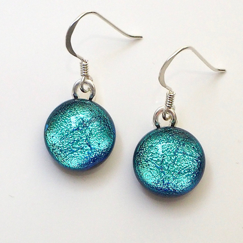 Sky blue round dichroic glass earrings - Fired Creations