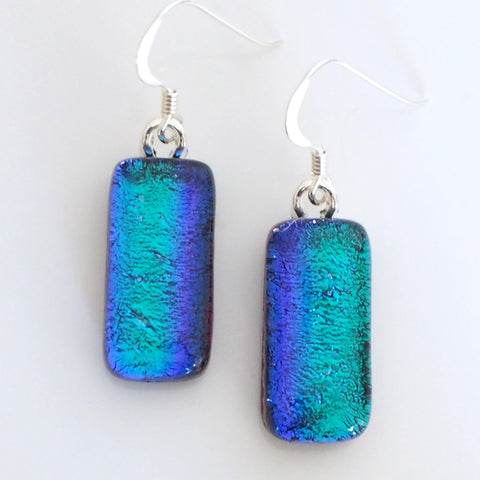 Teal purple dichroic glass earrings - Fired Creations