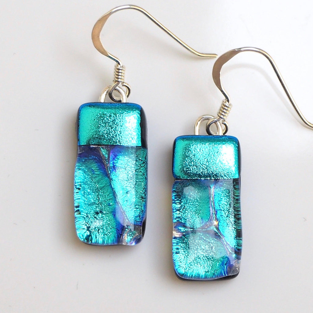 Dangly Earrings - Turquoise Dichroic Glass Earrings