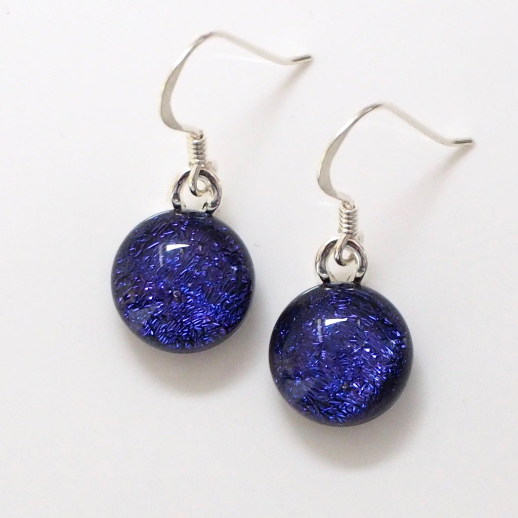 Dangly Earrings - Violet Round Dichroic Glass Earrings
