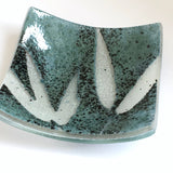 Fused glass trinket dish tealight candle holder sage green - Fired Creations