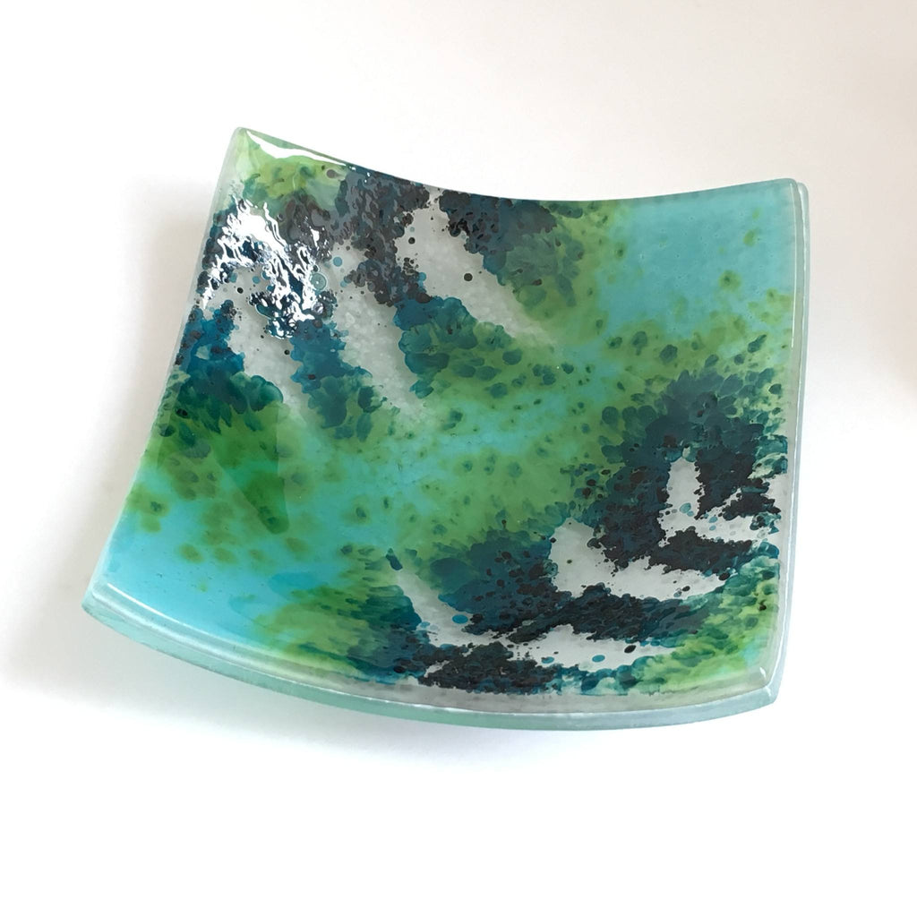 Fused glass trinket dish votive candle ring holder with a teal green and turquoise fern leaf design - Fired Creations