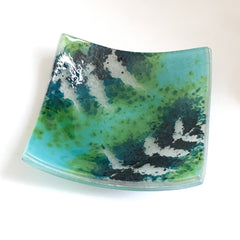 Fused Glass Trinket Dish Votive Holder With A Teal Green And Turquoise Fern Leaf Design
