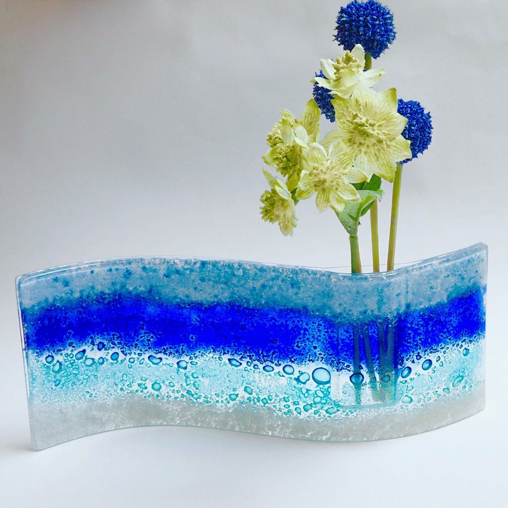 Blue abstract fused glass bud vase - Fired Creations