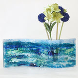 Blue abstract seascape fused glass vase - Fired Creations
