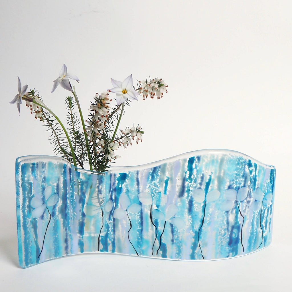 Blue fused glass wave vase - Fired Creations
