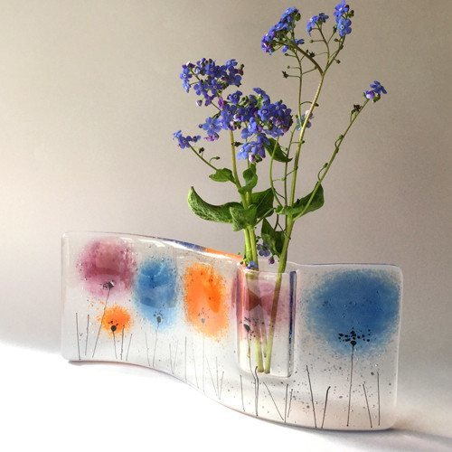 Fused glass bud vase in purple, blue and orange. - Fired Creations