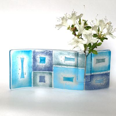 Fused glass bud vase in abstract blue design - Fired Creations