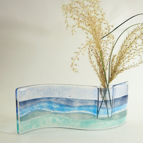 Fused Glass Vase - Fused Glass Bud Vase - Seascape
