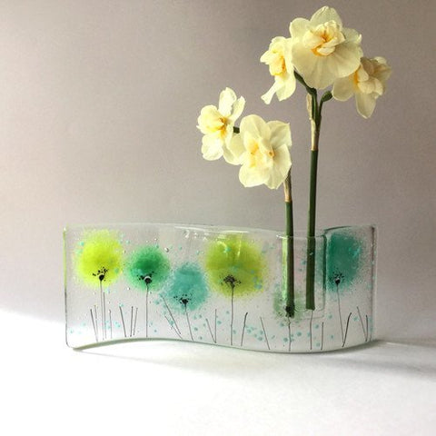 Green flowers fused glass vase - Fired Creations