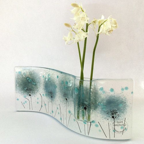 Light blue flowers fused glass bud vase - Fired Creations