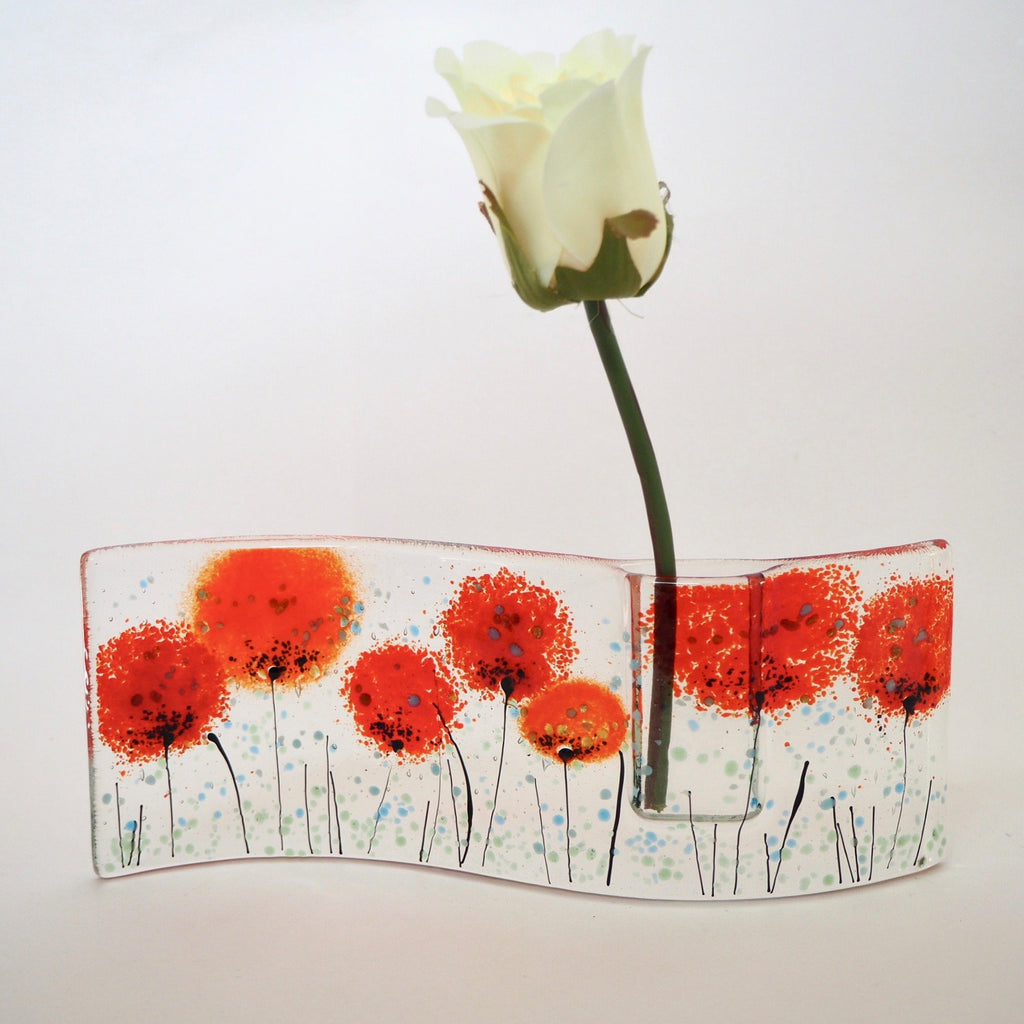 Poppy fused glass bud vase in red - Fired Creations