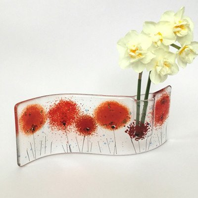 Red poppy fused glass bud vase - Fired Creations