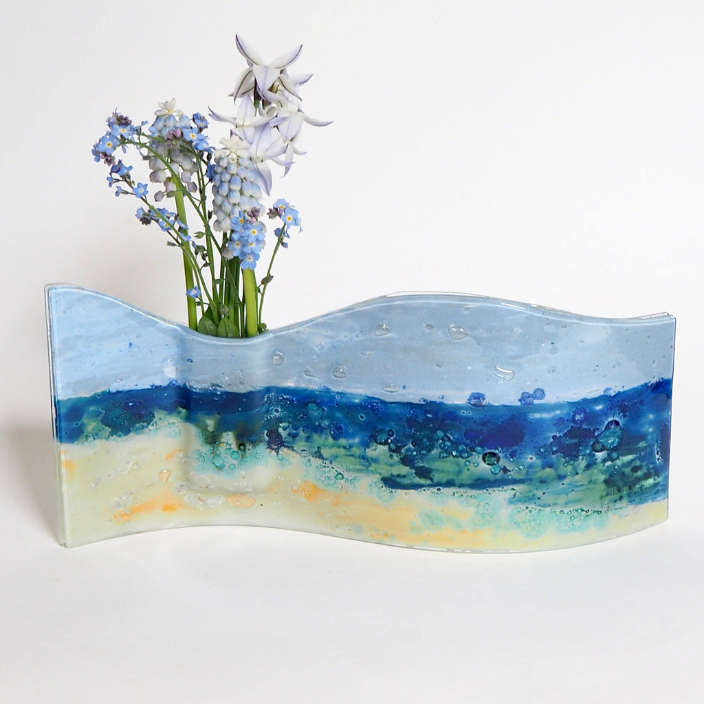 Seascape fused glass vase - Fired Creations