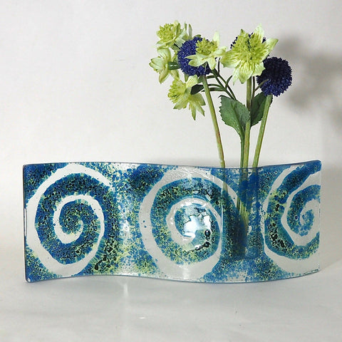 Teal blue swirl fused glass bud vase - Fired Creations