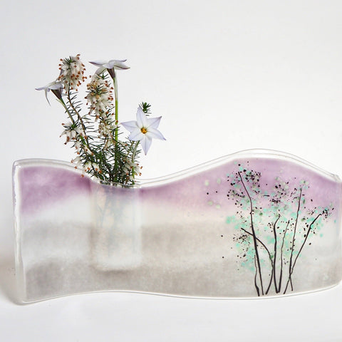 Tree landscape fused glass bud vase - Fired Creations