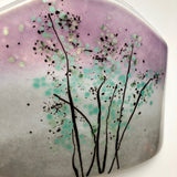 Fused Glass Vase - Tree Landscape Fused Glass Bud Vase